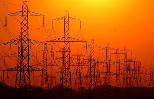 Electricity pylons in the sunset